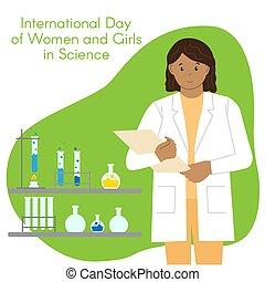 kobieta, płaski, icons., style., dziewczyny, ilustracja, folder., science., ciemny-obielany, kobiety, zdolność, dziewczyna, komplet, dzień, zmiana, scientist., międzynarodowy, aptekarz, chemist., colors.