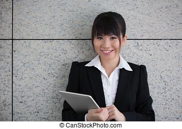 kobieta, palcowa sprawa, używając, asian, tablet.