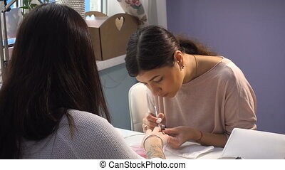 kobieta, pan, manicure