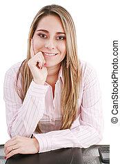 kobieta, papiery, handlowy, młody, portret, biuro