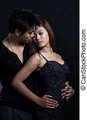 kobieta, para, młody, multiracial, asian obsadzają,...