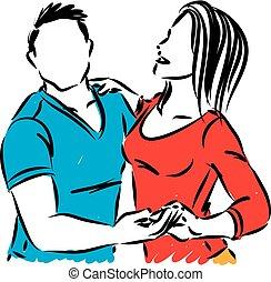 kobieta, para, tancerze, ilustracja, 1, wektor, człowiek