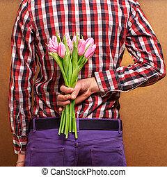 kobieta, para, -, usługiwanie, człowiek, jego, kochający, róża