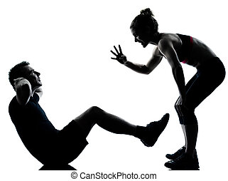 kobieta, para, wykonując, jeden, stosowność, trening, człowiek