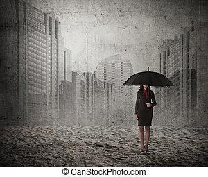kobieta, parasol, asian handlowy, dzierżawa