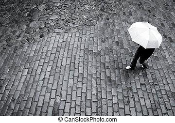 kobieta, parasol, deszcz