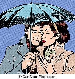 kobieta, parasol, romantyk, związek, courtshi, deszcz, pod, ...