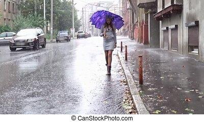 kobieta, parasol