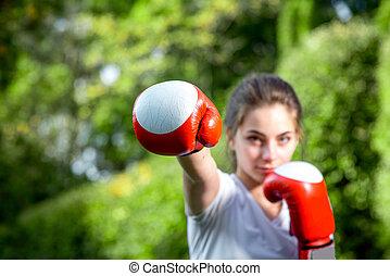 kobieta, park, młody, lekkoatletyka