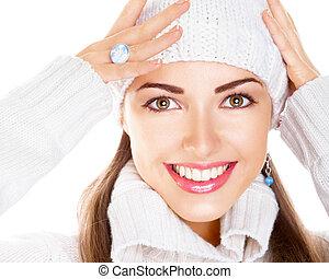 kobieta, piękno, korona, pullover., portret, uśmiech, biały...
