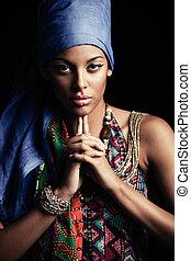 kobieta, piękno, młody, czarnoskóry, turban, afrykanin, portret