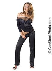 kobieta, piękno, młody, odizolowany, suit., czarnoskóry, 4,...