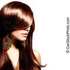 kobieta, piękno, makijaż, fason, portrait., model., szykowny