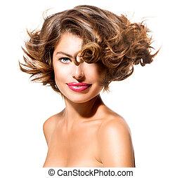 kobieta, piękno, na, młody, odizolowany, tło, portret, biały