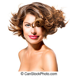 kobieta, piękno, na, tło, młody, odizolowany, portret, biały