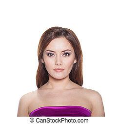 kobieta, piękno, odizolowany, dziewczyna, tło., brunetka, portret, biały, wzór