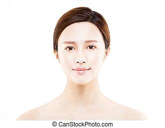 kobieta, piękno, odizolowany, młody, portret, biała twarz