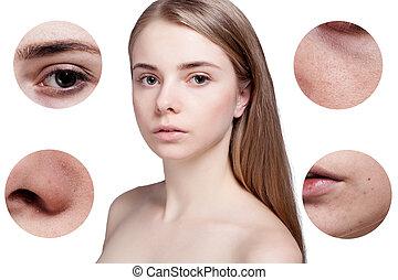 kobieta, piękno, po, młody, skóra, postępowanie, przed