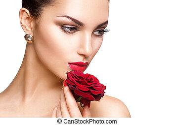kobieta, piękno, róża, odizolowany, tło, biały czerwony
