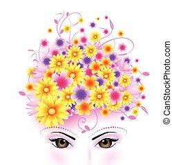 kobieta, piękno, tło, twarz