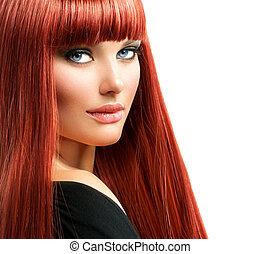 kobieta, piękno, twarz, włosy, portrait., wzór, dziewczyna, czerwony