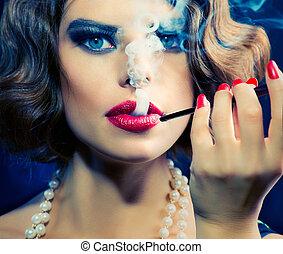 kobieta, piękno, ustnik, portrait., retro, palenie, dziewczyna