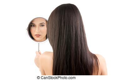 kobieta, piękno, wizerunek, młode przeglądnięcie, lustro.