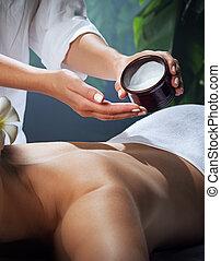 kobieta, piękny, environment., młody, masaż naftowy, zdrój, fragment