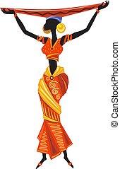 kobieta, piękny, ethnic strój, afrykanin, czarnoskóry