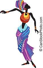 kobieta, piękny, ethnic strój, afrykanin