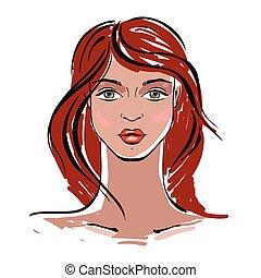 kobieta, piękny, portrait.