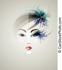 kobieta, piękny, projektować