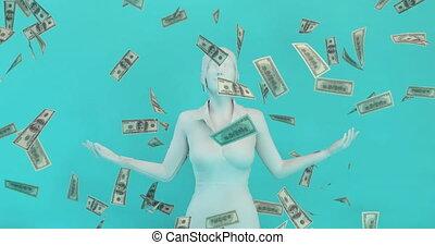 kobieta, pieniądze, kaukaski, spadanie, niebo, handlowy