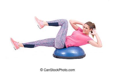 kobieta, pilates, piłka, ruch