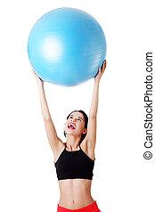 kobieta, pilates, ruch, ball.