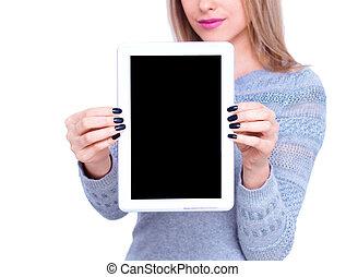 kobieta, pionowy, tabliczka, ekran, czysty, pokaz