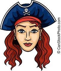 kobieta, pirat,  Roger, Wesoły, kapelusz, rysunek