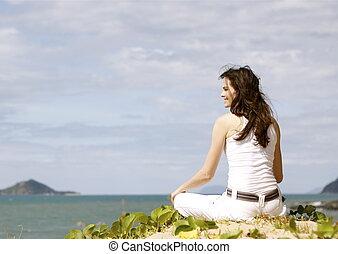 kobieta, plaża, odprężając