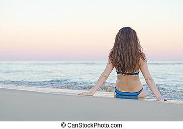 kobieta, plaża, sunset.