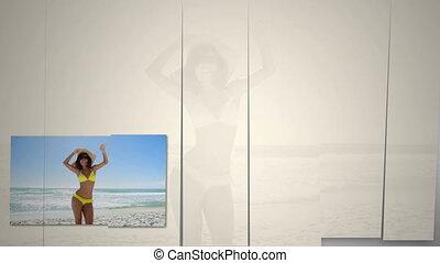 kobieta, plaża, taniec