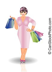 kobieta, plus, wektor, zakupy, rozmiar