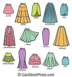 kobieta, poła, typ, wzory, zbiór, wektor, samica, strój, poły, styl, odizolowany, kontry
