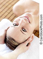 kobieta, pociągający, masaż, posiadanie
