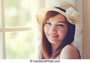 kobieta, pociągający, odprężając, asian