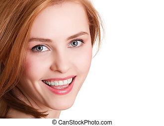 kobieta, pociągający, tło, portret, uśmiechanie się, biały