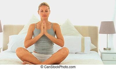kobieta, pociągający, yoga, blondynka