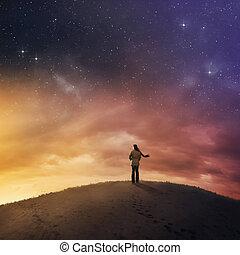 kobieta, pod, noc, sky.