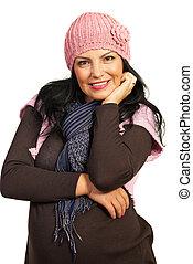 kobieta, podniecony, zima