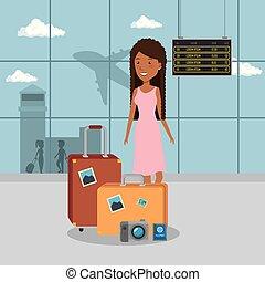 kobieta, podróżnik, w, przedimek określony przed rzeczownikami, lotnisko