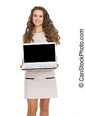 kobieta, pokaz, ekran, młody, czysty, uśmiechanie się, laptop